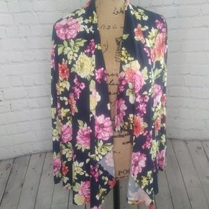NIP Rags & Couture Draped Floral Cardigan M